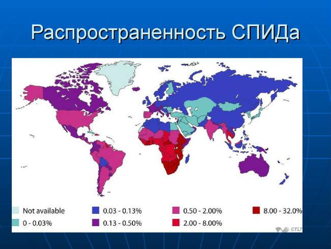 СПИД в странах